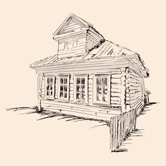 Paesaggio rurale con una vecchia casa in legno e un recinto rotto. schizzo a mano su uno sfondo beige.