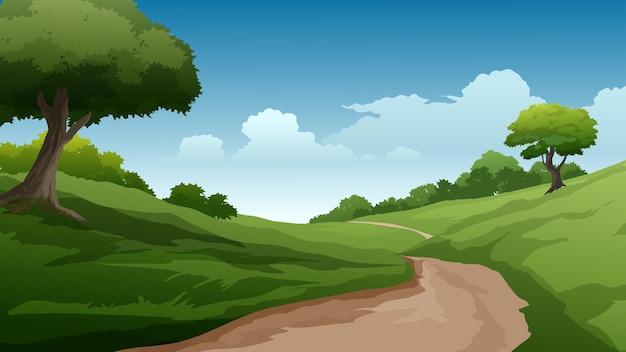 Paesaggio rurale con sentiero e campo verde