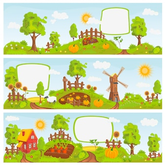 Illustrazione di paesaggi rurali