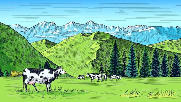 Prato rurale. paesaggio del villaggio con mucche, colline e una fattoria.