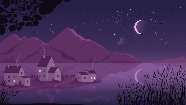 Scena di paesaggio notturno rurale e villaggio di paesaggi viola di campagna fluviale con case