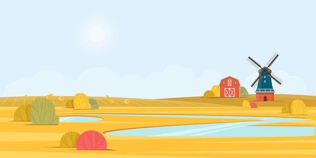 Paesaggio estivo rurale con un vecchio mulino a vento. illustrazione