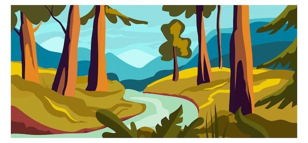 Paesaggio rurale del fiume di vista, illustrazione del fumetto dell'insegna della natura del fondo del terreno boscoso di concetto. fitta foresta di campagna.