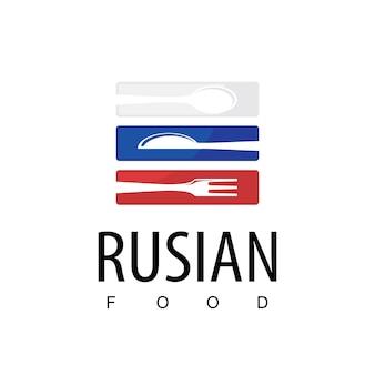 Logo ristorante cibo russo con simbolo bandiera russa