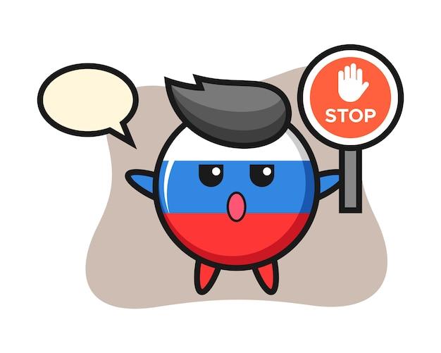 Illustrazione di carattere distintivo bandiera russia tenendo un segnale di stop, design in stile carino