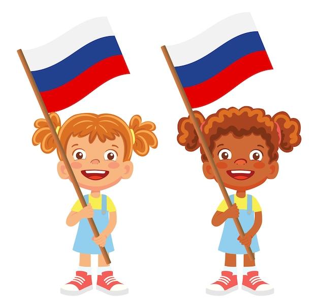 Bandiera della russia in mano. bambini che tengono bandiera. vettore di bandiera nazionale della russia