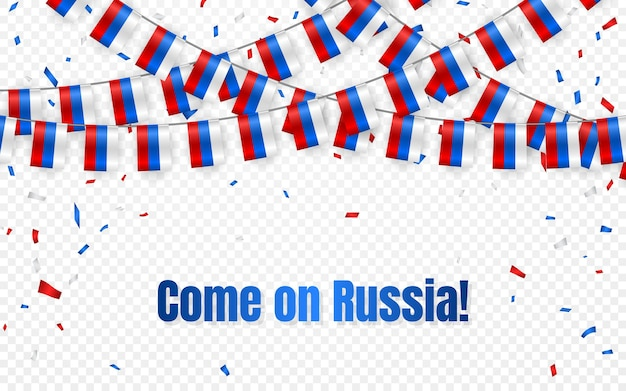 Ghirlanda di bandiere russia su sfondo trasparente con coriandoli. appendere la stamina per banner modello celebrazione festa dell'indipendenza russa, illustrazione