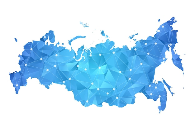 Russia mappa linea punti geometrici astratti poligonali.