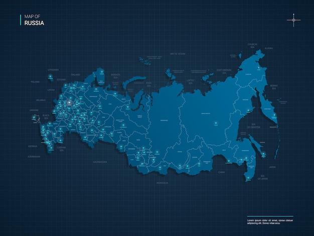 Mappa della russia con punti luce al neon blu