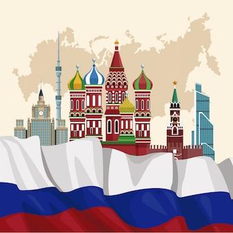 Progettazione grafica dell'illustrazione di vettore del manifesto di viaggio della russia