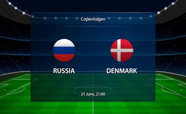 Tabellone segnapunti di calcio russia vs danimarca.