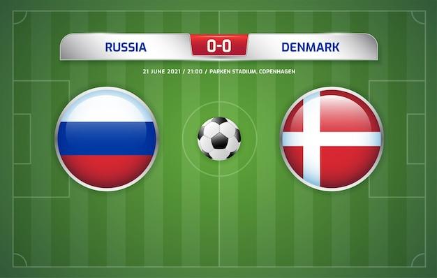 Il tabellone segnapunti russia vs danimarca trasmette il torneo di calcio 2020 gruppi b