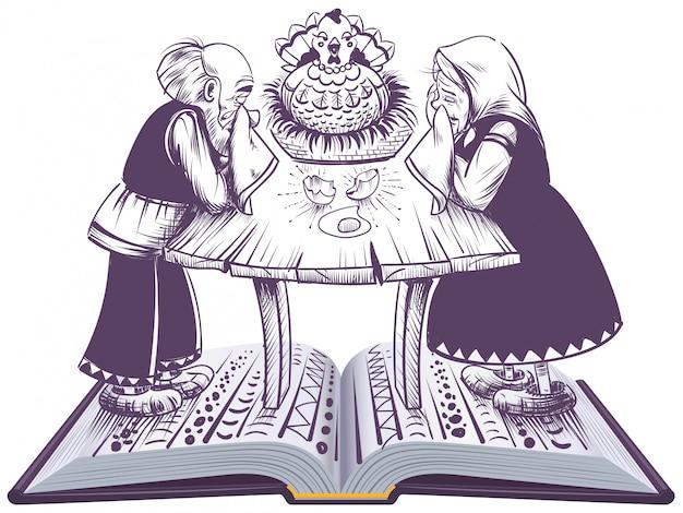 Illustrazione russa di libro aperto di ryaba della gallina di fiaba