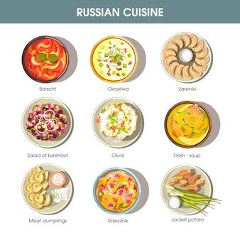 Icone di vettore di cucina cibo russo per il menu del ristorante