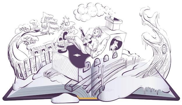 Ragazzo russo emelya su fornello in mattoni forno fiaba popolare libro aperto illustrazione pagina