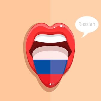 Lingua russa lingua bocca aperta con bandiera russa donna faccia design piatto illustrazione