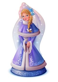 Ragazza carina russa snow maiden. isolato sull'illustrazione del fumetto di vettore bianco