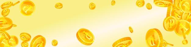 Monete del rublo russo che cadono. simpatiche monete rub sparse. soldi russi. jackpot notevole, ricchezza o concetto di successo. illustrazione vettoriale.