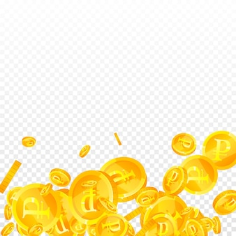 Monete del rublo russo che cadono. squisite monete rub sparse. soldi russi. caratteristico jackpot, ricchezza o concetto di successo. illustrazione vettoriale.