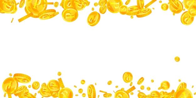Monete del rublo russo che cadono. monete rub sparse favorevoli. soldi russi. jackpot fresco, ricchezza o concetto di successo. illustrazione vettoriale.
