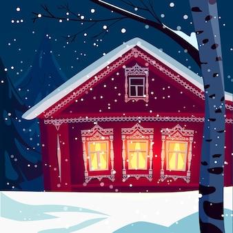 Casa di villaggio in legno russo in inverno, nevicate nel paesaggio rurale, betulla, tempo di natale