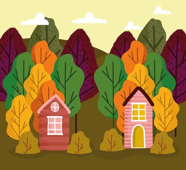 Case rustiche nella foresta