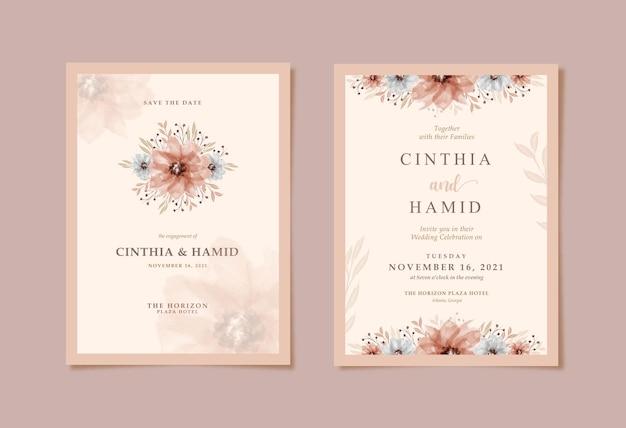 Invito a nozze rustico e romantico con bellissimo acquerello floreale