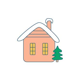 Casa di neve rustica con albero di natale
