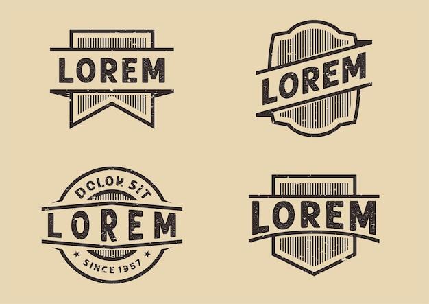 Modello di disegno grunge vettoriale del pannello del logo vintage rustico