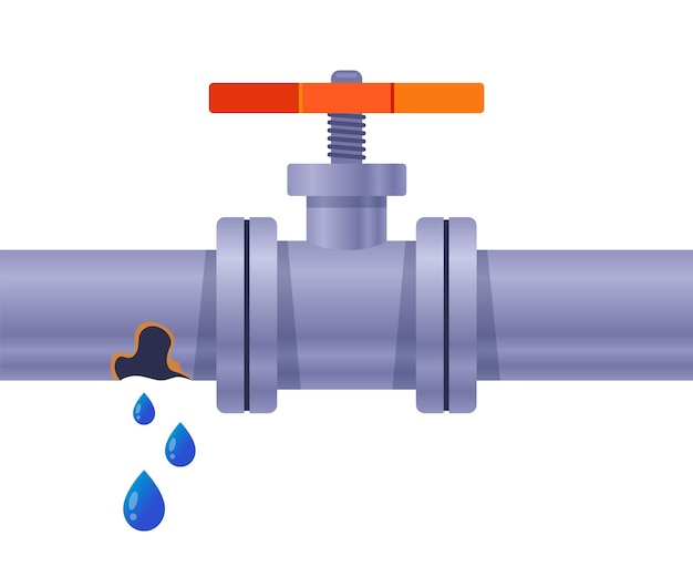 Tubo arrugginito con acqua. cadere dal buco. illustrazione vettoriale piatto.
