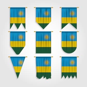 Bandiera del ruanda in diverse forme, bandiera del ruanda in varie forme