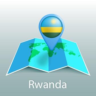Mappa del mondo di bandiera del ruanda nel perno con il nome del paese su sfondo grigio