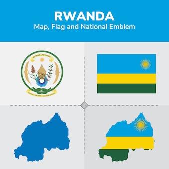 Mappa del ruanda, bandiera e emblema nazionale