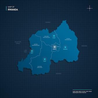 Mappa del ruanda con punti luce al neon blu