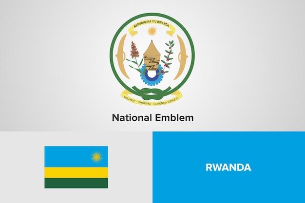 Modello di bandiera dell'emblema nazionale del ruanda Vettore Premium