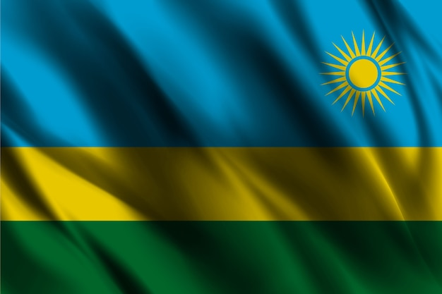 Bandiera nazionale del ruanda ondeggiante sfondo di seta