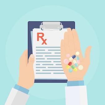 Prescrizione medica rx con pillole, capsule nelle mani
