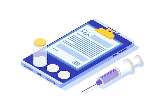 Modulo di prescrizione rx su blocco appunti su smartphone. concetto di clinica online.