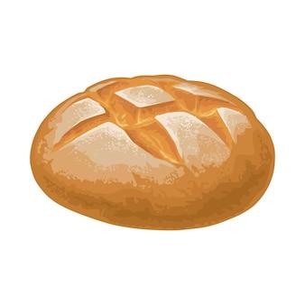Pane di segale illustrazione realistica di colore di vettore per il negozio di panetteria del menu isolato su bianco