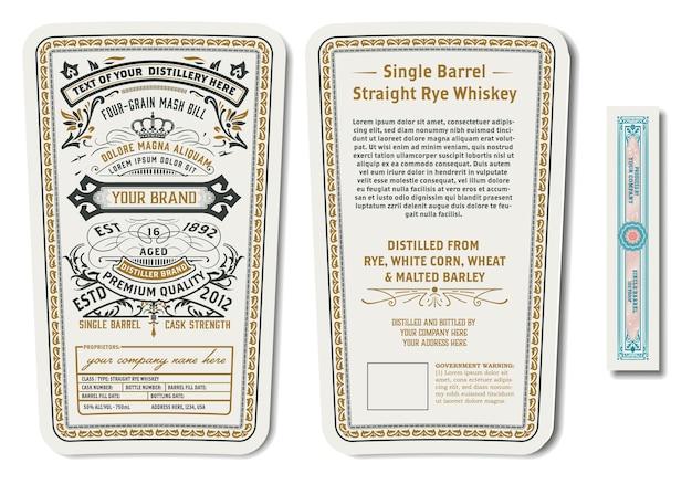 Etichetta di whisky di segale con design dettagliato