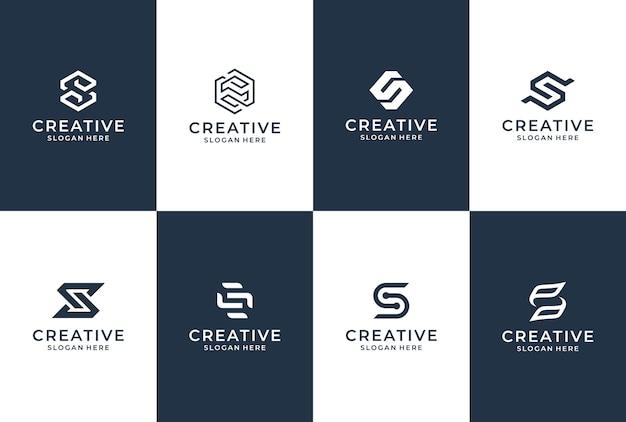 Collezione di logo della lettera s. ispirazione del logo iniziale s. lettering logo design.