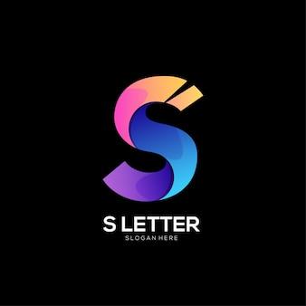 Gradiente di design colorato con logo lettera s