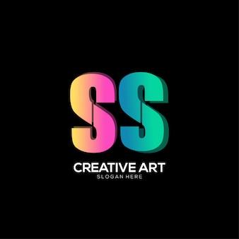 S lettera logo gradiente design colorato
