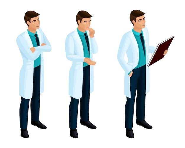 S operatori sanitari, un dottore, un chirurgo, un dottore in abiti medici durante il lavoro