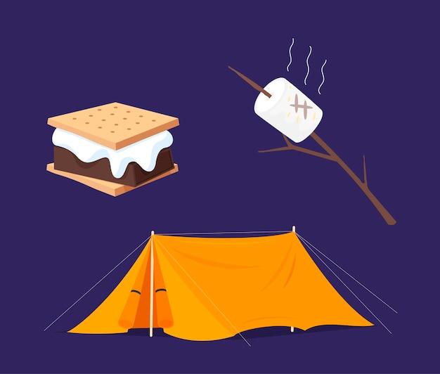 S'più giorno di raccolta. griglia per marshmallow, cracker, collezione di elementi per tende.