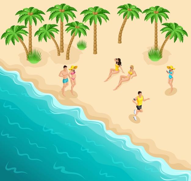 La spiaggia del mare, le ragazze a riposo prendono il sole, l'atleta su una corsa mattutina, uno stile di vita sano, una coppia sposata
