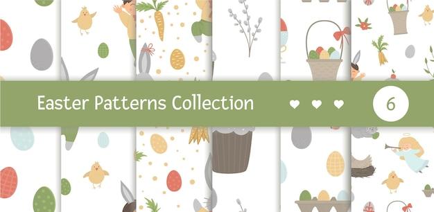 Insieme di modelli senza cuciture con elementi di design per pasqua. ripeti gli sfondi con coniglietti carini, bambini, uova colorate, cinguettio di uccelli, pulcini, cestini. pacchetto di carta digitale divertente primavera.