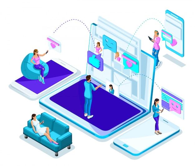 S adolescenti, giovani, social network. corrispondenza, un uomo conduce la comunicazione online con donne diverse. moderno luminoso