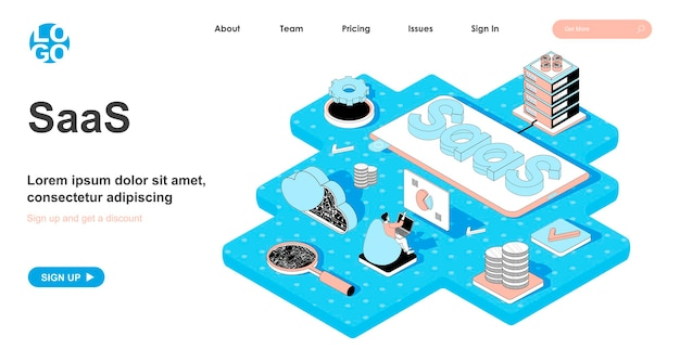 Concetto isometrico saas nella progettazione 3d per la pagina di destinazione
