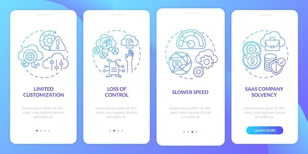 Problemi saas durante l'onboarding della schermata della pagina dell'app mobile con concetti. personalizzazione limitata, controllo della perdita di controllo attraverso 4 passaggi. modello di interfaccia utente con colore rgb